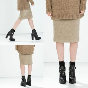 Zara Knit Wool Mohair Pencil Midi Skirt